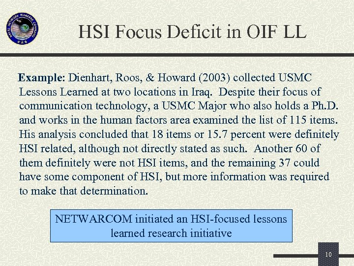 HSI Focus Deficit in OIF LL Example: Dienhart, Roos, & Howard (2003) collected USMC
