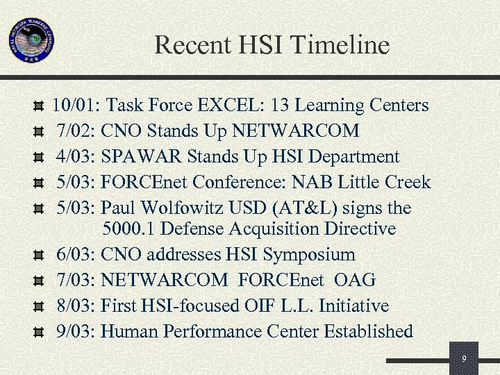 Recent HSI Timeline 10/01: Task Force EXCEL: 13 Learning Centers 7/02: CNO Stands Up