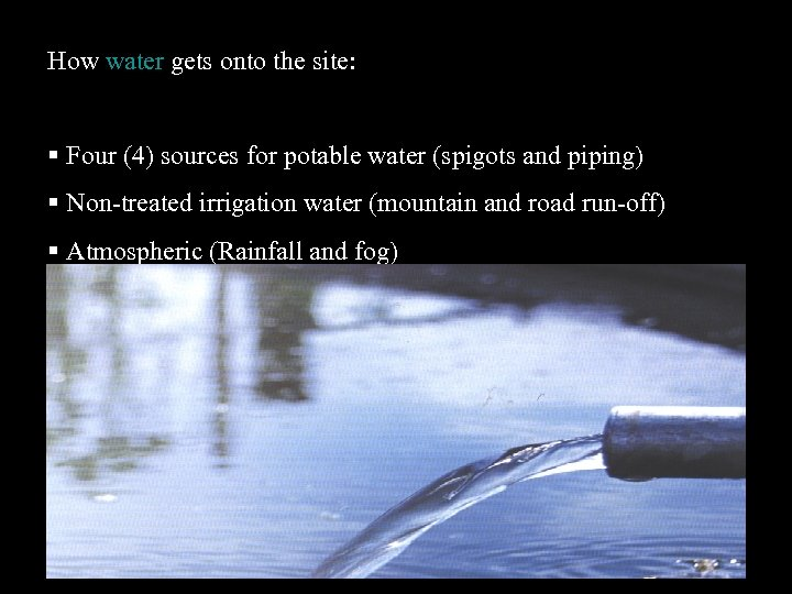 How water gets onto the site: Four (4) sources for potable water (spigots and