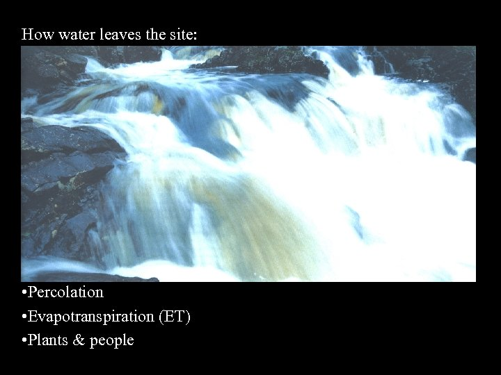 How water leaves the site: • Runoff • Percolation • Evapotranspiration (ET) • Plants
