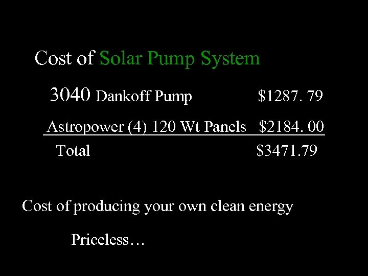 Cost of Solar Pump System 3040 Dankoff Pump $1287. 79 Astropower (4) 120 Wt