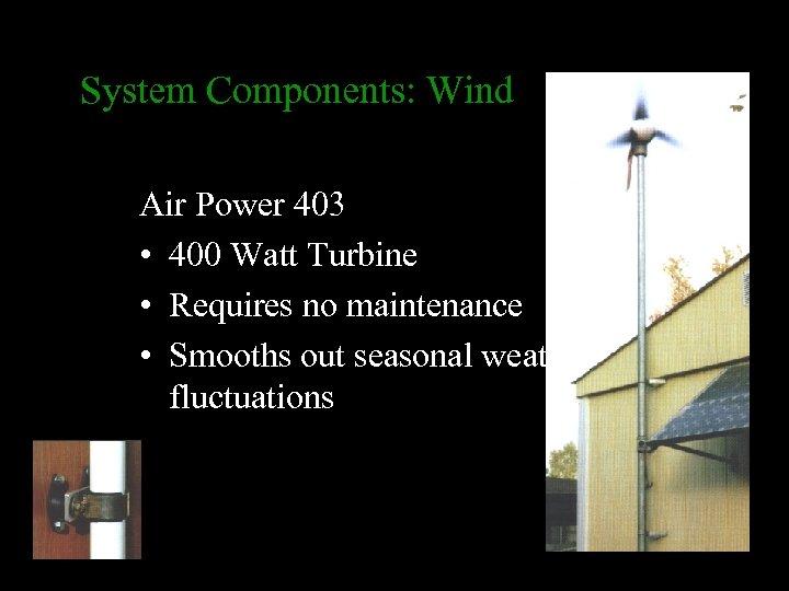 System Components: Wind Air Power 403 • 400 Watt Turbine • Requires no maintenance