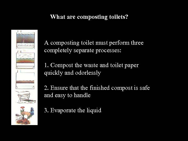 What are composting toilets? A composting toilet must perform three completely separate processes: 1.