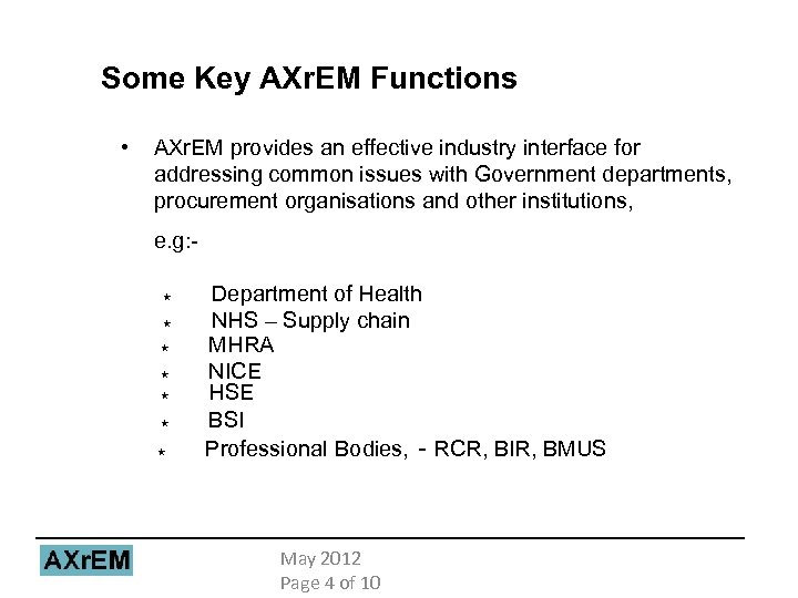 Some Key AXr. EM Functions • AXr. EM provides an effective industry interface for