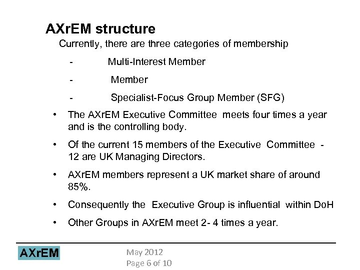 AXr. EM structure Currently, there are three categories of membership - Multi-Interest Member -