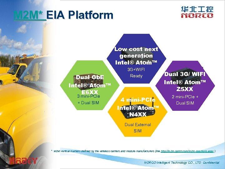 M 2 M* EIA Platform Low cost next generation Intel® Atom™ Dual Gb. E