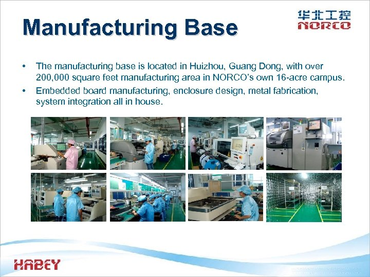 Manufacturing Base • • The manufacturing base is located in Huizhou, Guang Dong, with