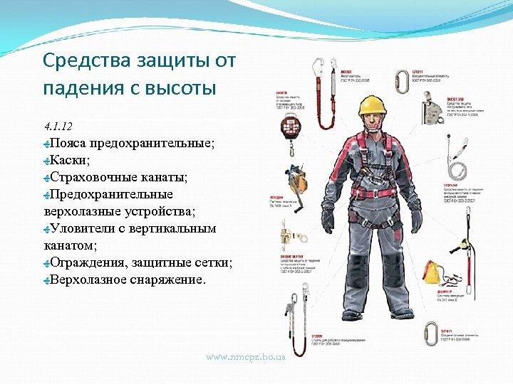 Средства защиты от падения с высоты 4. 1. 12 ﻬ Пояса предохранительные; ﻬ Каски;