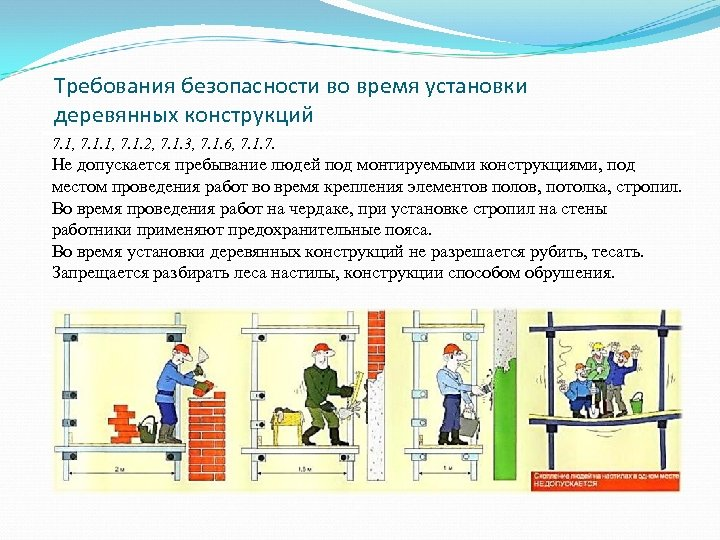 Требования безопасности во время установки деревянных конструкций 7. 1, 7. 1. 2, 7. 1.