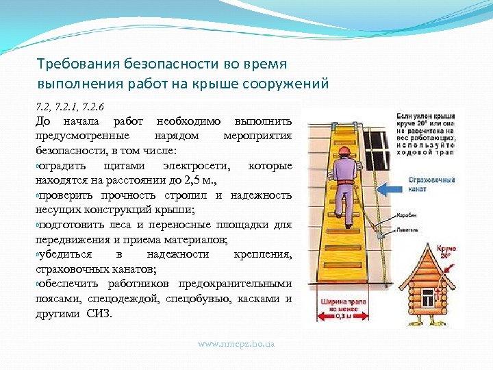 Требования безопасности во время выполнения работ на крыше сооружений 7. 2, 7. 2. 1,