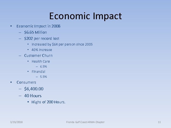 Economic Impact • Economic Impact in 2008 – $6. 65 Million – $202 per
