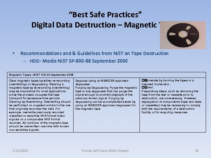 """Best Safe Practices"" Digital Data Destruction – Magnetic Tapes • Recommendations and & Guidelines"