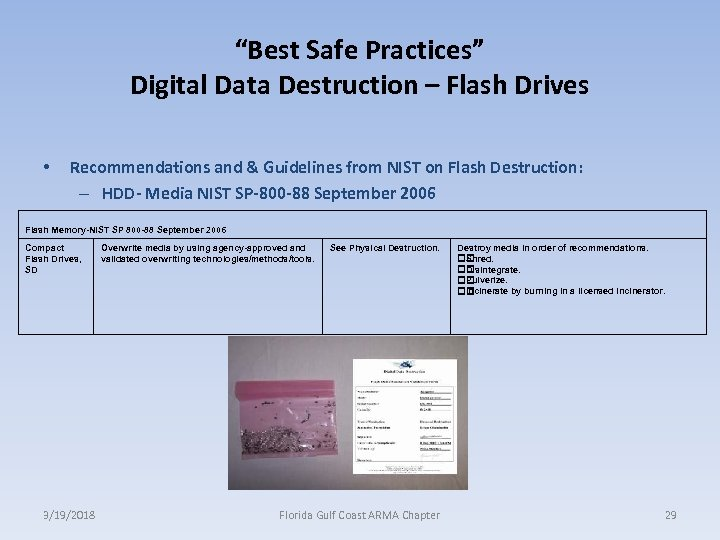 """Best Safe Practices"" Digital Data Destruction – Flash Drives • Recommendations and & Guidelines"