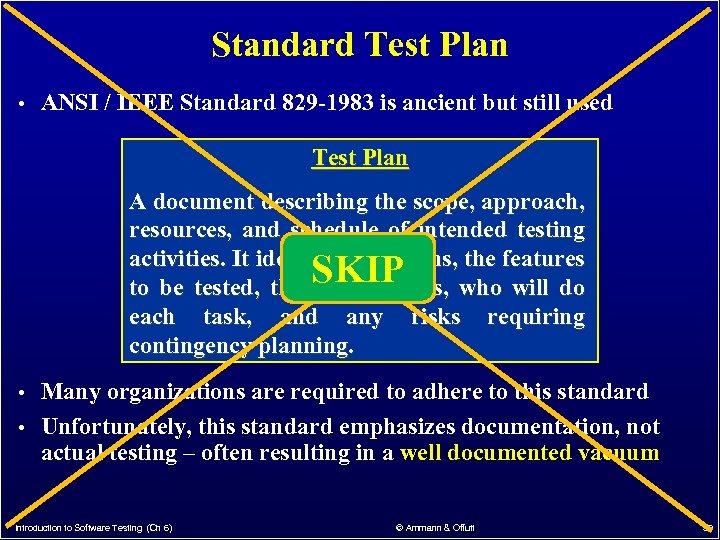 Standard Test Plan • ANSI / IEEE Standard 829 -1983 is ancient but still