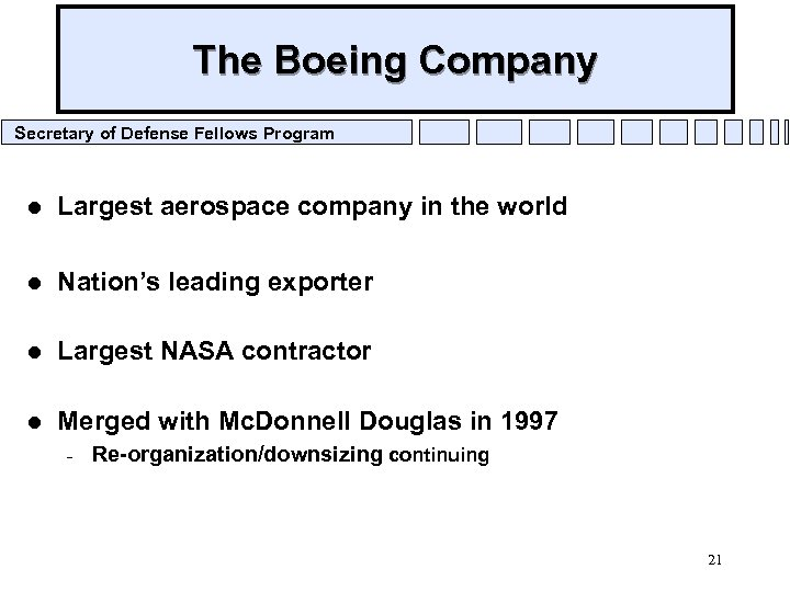 The Boeing Company Secretary of Defense Fellows Program l Largest aerospace company in the