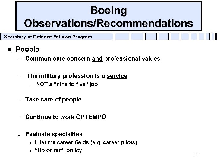 Boeing Observations/Recommendations Secretary of Defense Fellows Program l People – – Communicate concern and