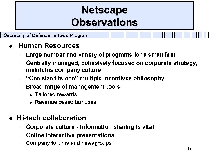 Netscape Observations Secretary of Defense Fellows Program l Human Resources – – Large number
