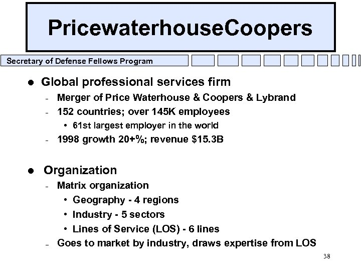 Pricewaterhouse. Coopers Secretary of Defense Fellows Program l Global professional services firm – –