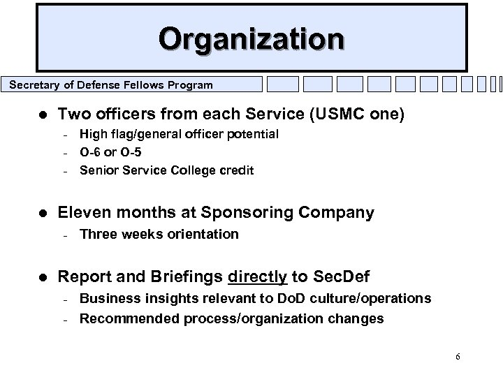 Organization Secretary of Defense Fellows Program l Two officers from each Service (USMC one)