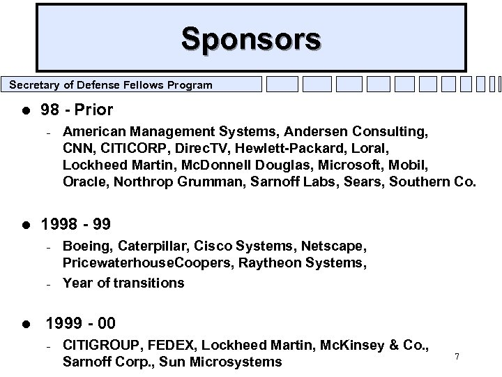 Sponsors Secretary of Defense Fellows Program l 98 - Prior – l 1998 -