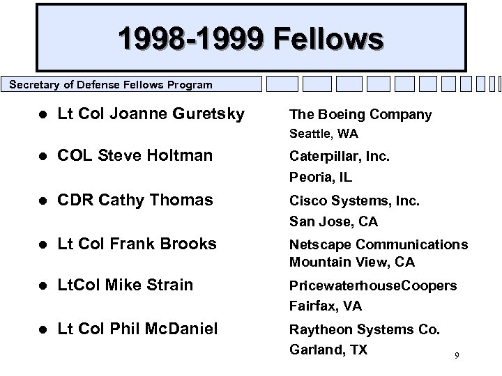 1998 -1999 Fellows Secretary of Defense Fellows Program l Lt Col Joanne Guretsky The