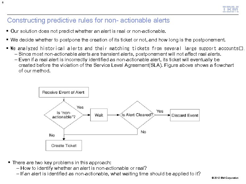 6 Constructing predictive rules for non- actionable alerts Our solution does not predict whether