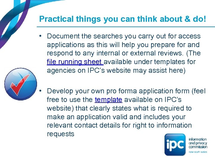 Practical things you can think about & do! • Document the searches you carry