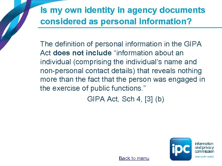 Is my own identity in agency documents considered as personal information? The definition of