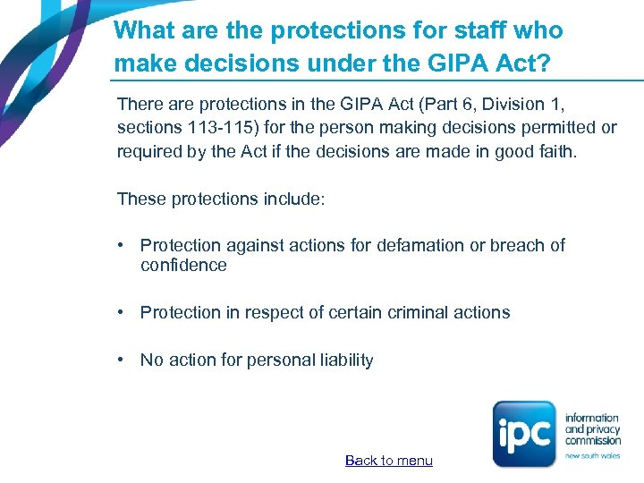 What are the protections for staff who make decisions under the GIPA Act? There