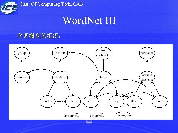 Inst. Of Computing Tech, CAS Word. Net III 名词概念的组织: