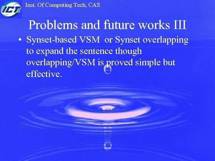 Inst. Of Computing Tech, CAS Problems and future works III • Synset-based VSM or