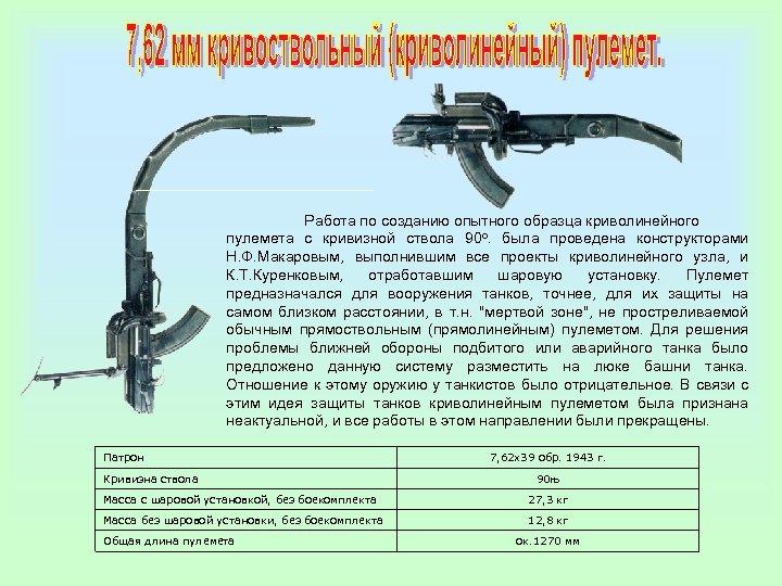 Работа по созданию опытного образца криволинейного пулемета с кривизной ствола 90 о. была проведена