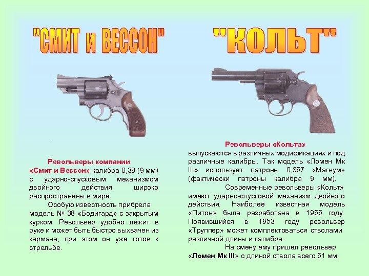 Револьверы компании «Смит и Вессон» калибра 0, 38 (9 мм) с ударно-спусковым механизмом двойного