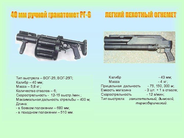 Тип выстрела – ВОГ-25; ВОГ-25 П; Калибр – 40 мм; Масса – 5, 8