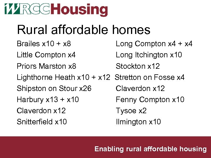 Rural affordable homes Brailes x 10 + x 8 Little Compton x 4 Priors