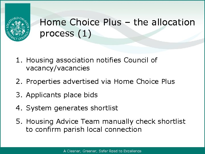 Home Choice Plus – the allocation process (1) 1. Housing association notifies Council of