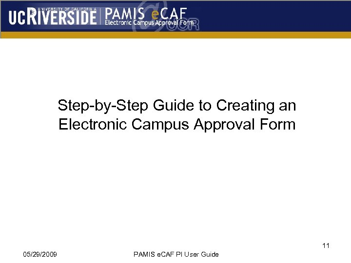 Step-by-Step Guide to Creating an Electronic Campus Approval Form 11 05/29/2009 PAMIS e. CAF