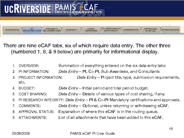 There are nine e. CAF tabs, six of which require data entry. The other