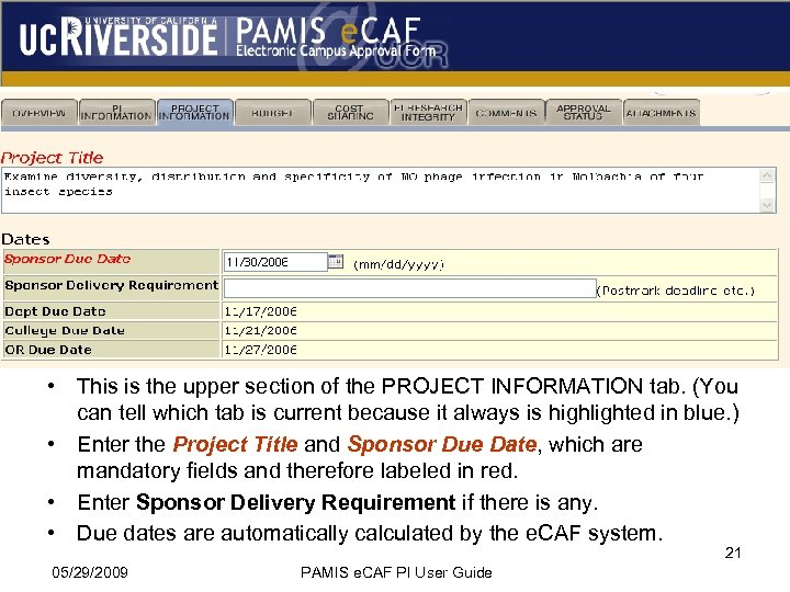 • This is the upper section of the PROJECT INFORMATION tab. (You can