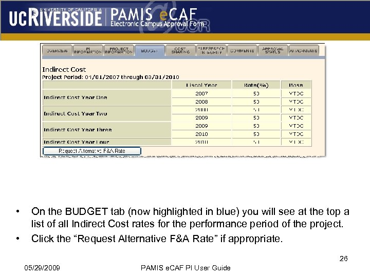 • • On the BUDGET tab (now highlighted in blue) you will see