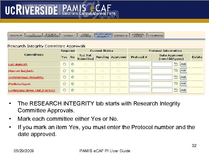 • • • The RESEARCH INTEGRITY tab starts with Research Integrity Committee Approvals.