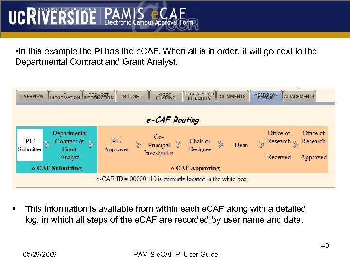 • In this example the PI has the e. CAF. When all is