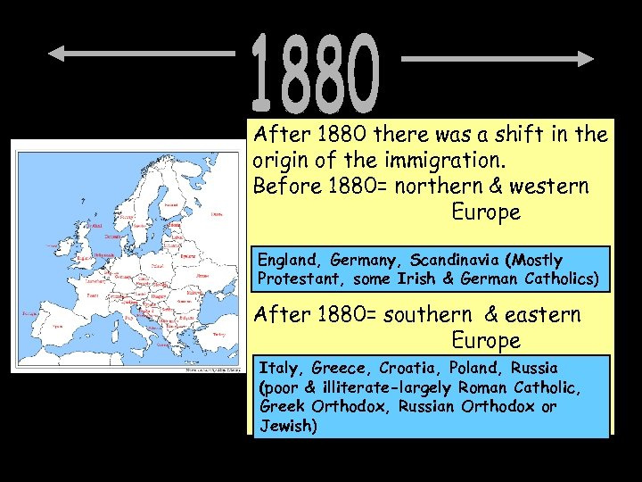 After 1880 there was a shift in the origin of the immigration. Before 1880=