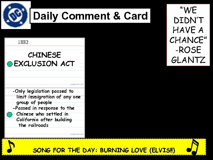 """Daily Comment & Card 1882 CHINESE EXCLUSION ACT """"WE DIDN'T HAVE A CHANCE"""" -ROSE"""