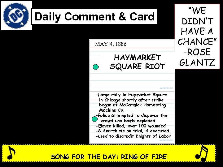 Daily Comment & Card MAY 4, 1886 HAYMARKET SQUARE RIOT -Large rally in Haymarket