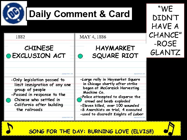 Daily Comment & Card 1882 MAY 4, 1886 CHINESE EXCLUSION ACT -Only legislation passed