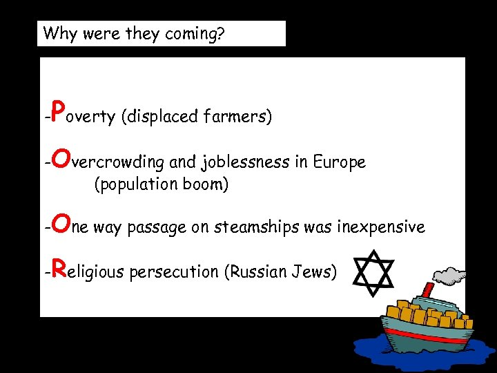 Why were they coming? P - overty (displaced farmers) -Overcrowding and joblessness in Europe