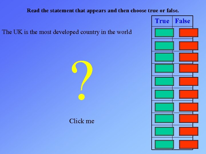 Read the statement that appears and then choose true or false. True False The