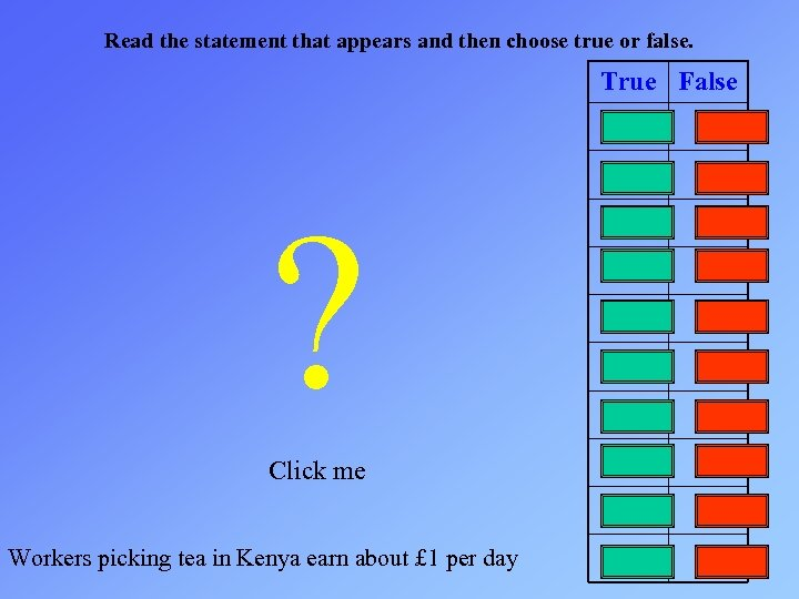 Read the statement that appears and then choose true or false. True False ?