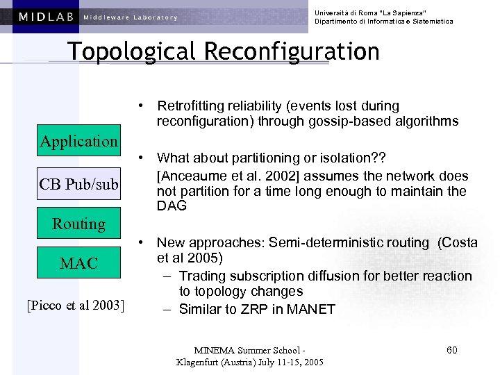 """Università di Roma """"La Sapienza"""" Dipartimento di Informatica e Sistemistica Topological Reconfiguration • Retrofitting"""